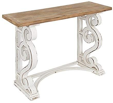 Amazon Com Kate And Laurel Wyldwood Country French Solid Wood Console Table Rustic White Legs Natu Farmhouse Console Table Wood Console Table Wood Console
