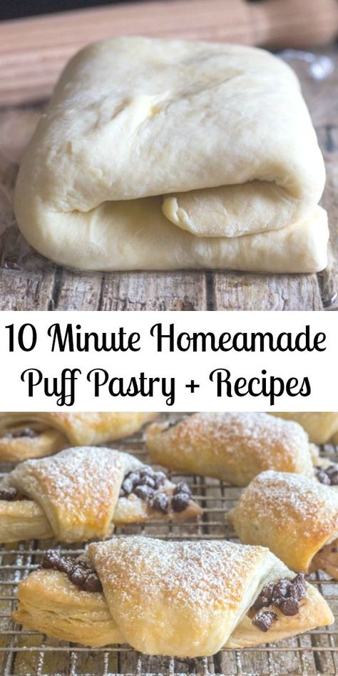 10 minute Homemade Puff Pastry + Recipes-Sweet & Savory 10 Minute Homemade Puff pastry, fast and easy, flaky and buttery, better than store bought. The perfect dessert, just add the filling. Puff Pastry Desserts, Sweet Puff Pastry Recipes, Easy Puff Pastry Recipe, Easy Pastry Recipes, Puff Pastry Appetizers, Puff Pastry Recipes Savory, Icebox Desserts, Baking And Pastry, Pastry Cake