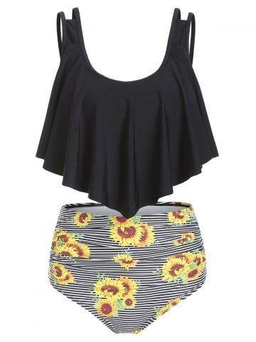 Sunflower Striped Flounce Tankini Set | Tankini swimsuits