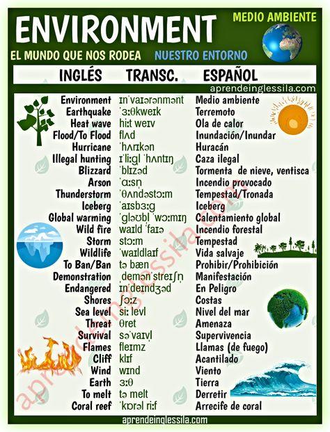 Vocabulario El Medio Ambiente En Inglés Con Pronunciación