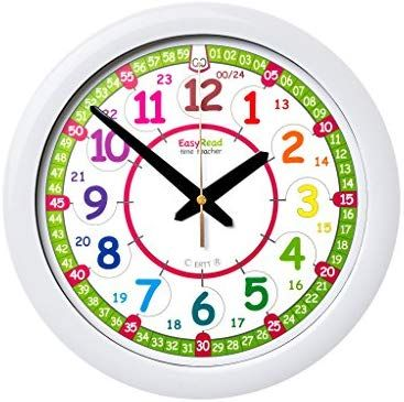 Easyread Time Teacher Children S Wall Clock 12 24 Hour With Silent Movement Learn To Tell The Time In 2 Simple Steps Clock Wall Clock Childrens Wall Clock