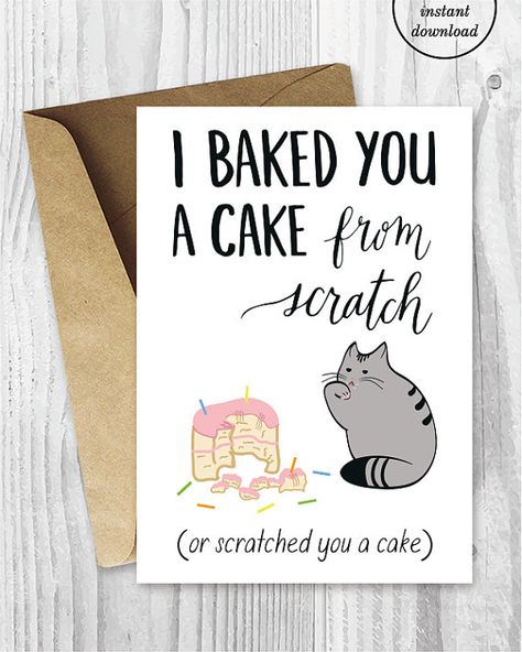 Birthday Card Downloads Funny Cat Cards Printable For Friends Digital Dow
