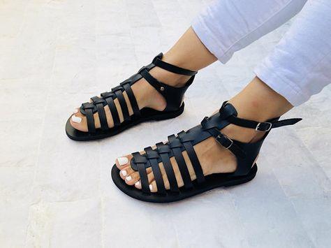 Gladiator Leather Sandals, Greek Sandals, Black Sandals, Summer Shoes, Made from 1005 Genuine Leather.