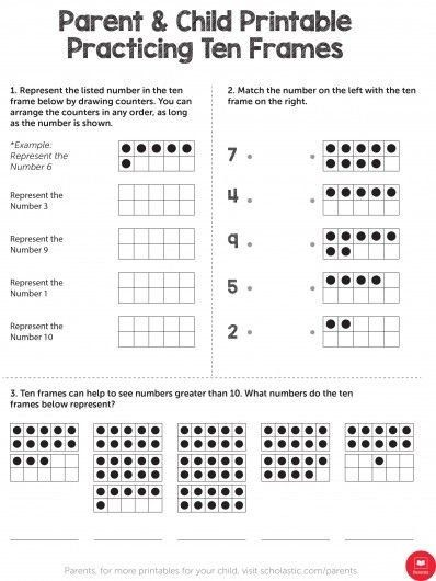Scholastic Math Worksheets Practicing Ten Frames A Parent And Child Activity Ten Frame
