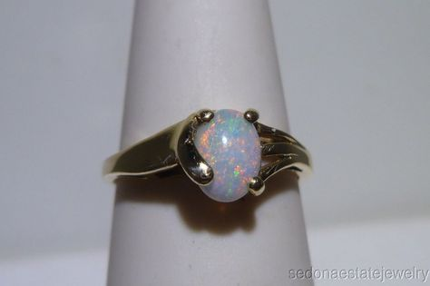 Beautiful 14k Solid Yellow gold Ring Stamp SGS with Oval Opal size