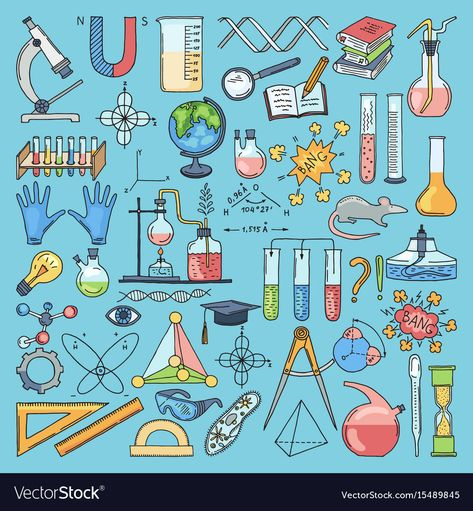 Colored items of science biology and chemical
