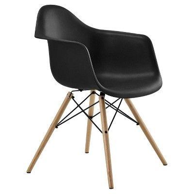 Mid Century Modern Molded Arm Chair With Wood Leg Black Dorel