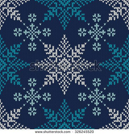 c218517492c6a5 Winter Holiday Knitted Pattern with Snowflakes. Seamless Vector Background