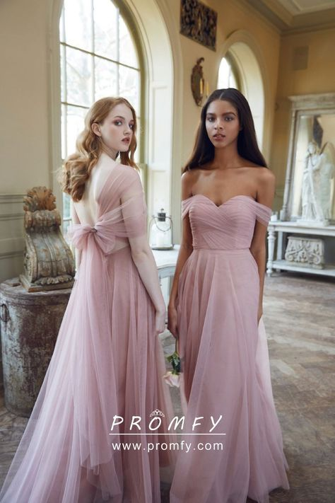 4f53f52581 Modern Baby Pink Tulle Off-the-shoulder Low Back Long Bridesmaid Dresses