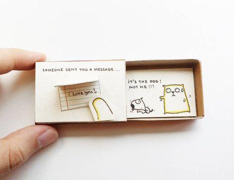 Cute Valentine's Card/ Cute Matchbox Gift/ Funny Love Card for Her/ Puppy Card /Someone send you a m