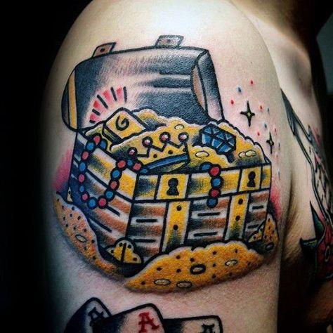 5f488f8589306 Treasure chest Tattoo Designs for Men - Precious Ink Ideas #chest #designs  #ideas