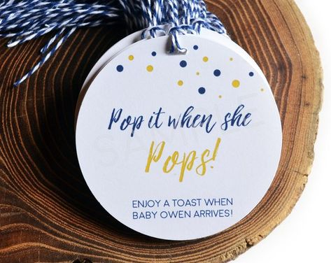 Navy and Gold Baby Shower Tags, Pop it when she POPS, Champagne Baby Shower Favor, Personalized Gift Tags, Baby Shower Favors, Gender Reveal