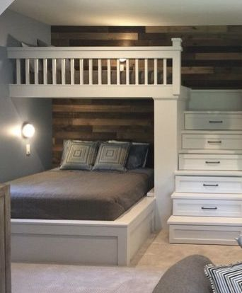 Love The Shiplap Rustic Wall And The Bunk Storage In The Stairs