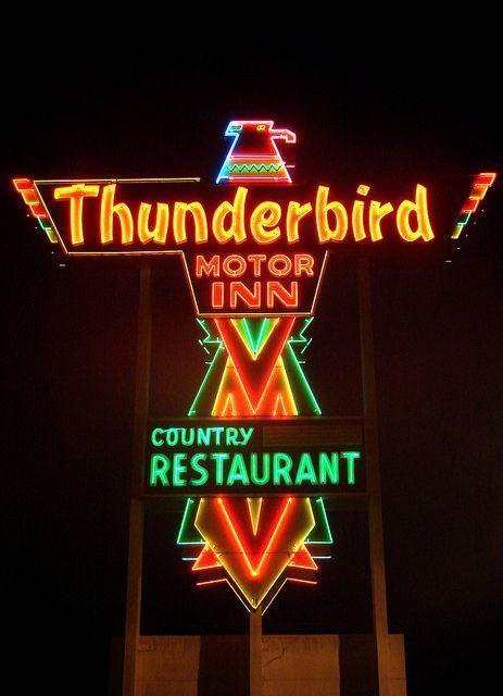 vintage neon sign, Thunderbird Motor Inn & Country Restaurant