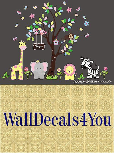 Nursery D cor 66697: Nursery Wall Decals - Safari Animal Stickers ...