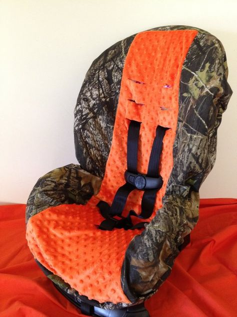 CAMO ORANGE MINKY Ready To Ship Fabric Toddler And Infant Convertible Car Seat Cover Fits
