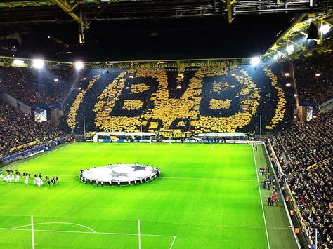 Dortmund Fans At Westfalenstadion Tonight Soccer Stadium Football Stadiums Dortmund