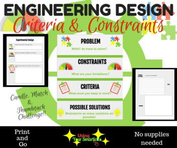 Engineering Design Constraints And Criteria Editable Engineering Design Challenge Engineering Design Engineering Design Process