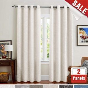 Jinchan Cream White 84 Inches Linen 2 Panels Textured Curtains For Bedroom Cream Curtains Curtains Living Room Window Treatments Living Room