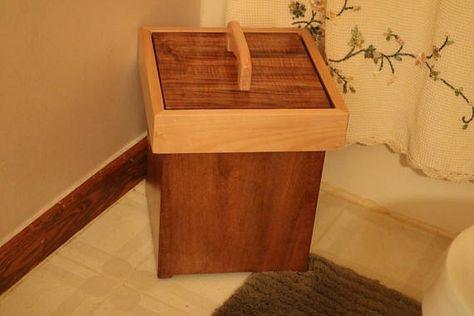 Rustic Handmade Wood Bathroom Trash Can With Lid