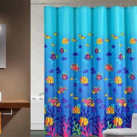 Xhsp Modern Deep Sea Tropical Fish Printing Shower Curtai Https