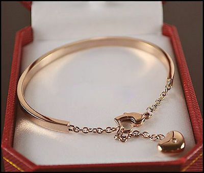 High Quality Crystal Love Heart Charm Stainless Steel Bracelet Bangle Rose Gold