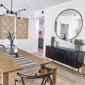 Metal Frame Oversized 48 Round Mirror Mirror Dining Room Dining Room Style Dining Room Mirror Wall