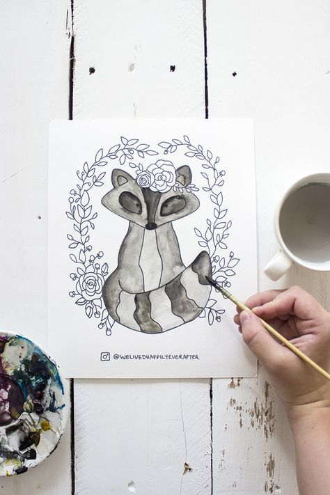 Free Printable Watercolor Adult Coloring Book Sheets Woodland