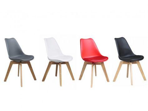lot de 6 chaises paddy polypropylène, simili & chêne - rouge prix