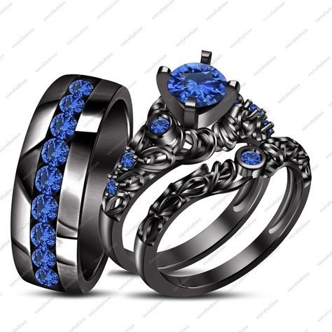 Blue Sapphire His Her Wedding Band Ring Trio Set Black Gold