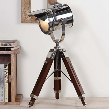 Shaded Nickel Tripod Lamp By Grated Ginger Tripod Lamp Tripod Table Lamp Lamp
