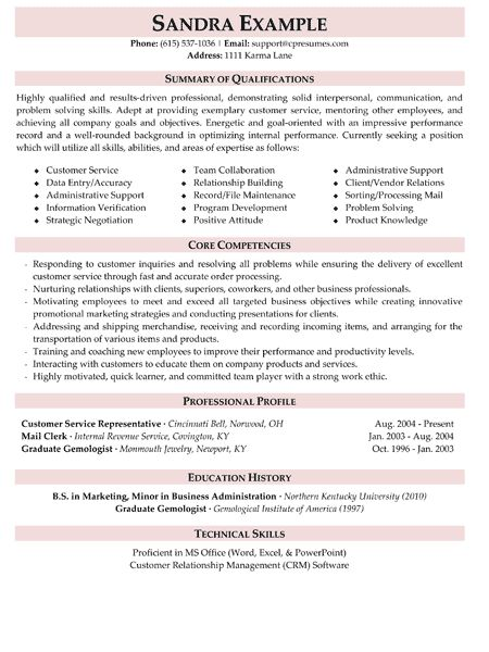 Professional Resume Writing Services Careers Plus Resumes Prof - example of customer service resume