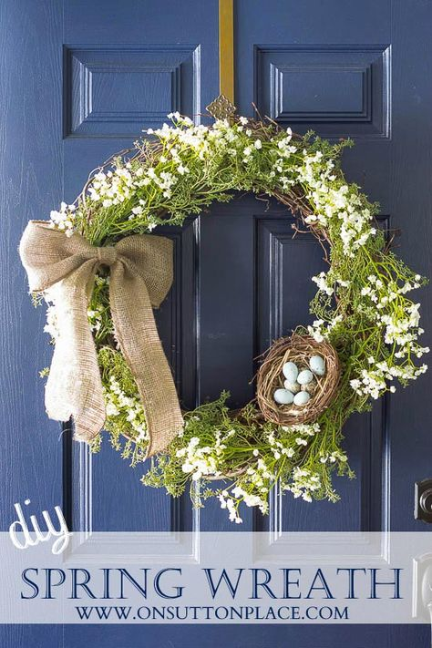 Make this diy spring wreath with supplies found at any craft store. Complete tutorial with pictures. Anyone can do this!
