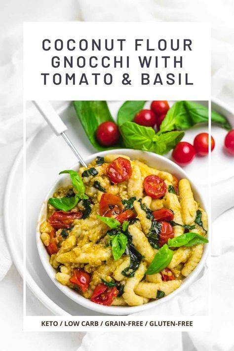 Keto Gnocchi Tomato Basil Gluten-Free Homemade - Low Carb No Carb