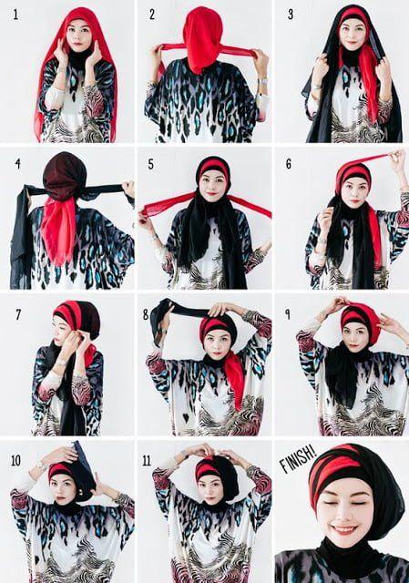 Tutorial Jilbab Segi Empat 2 Warna Ragam Muslim Hijab Tutorial Hijab Style Tutorial Turban Hijab