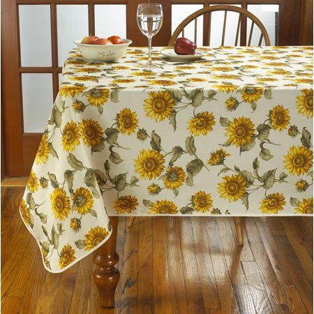 Classic Euro Sunflower Tablecloth With Large Sunflowers Design Walmart Com Tablecloth Sizes Table Cloth Custom Table Cloth