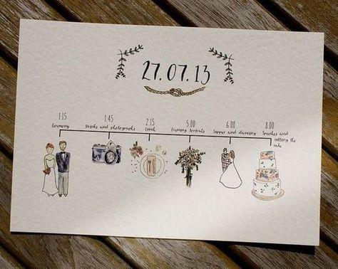 Illustrated Wedding Schedules - schedule of the day with watercolour illustrations - unique wedding stationery Illustrierte Hochzeit Zeitpläne - Tagesprogramm mit Aquarell-Illustrationen - einzigartige Hochzeit Briefpapier.