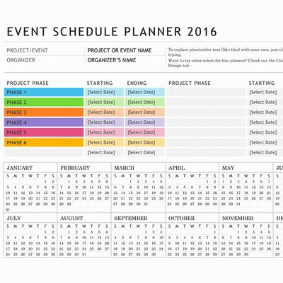 Event Or Party Planning Calendar Template For Word   Http