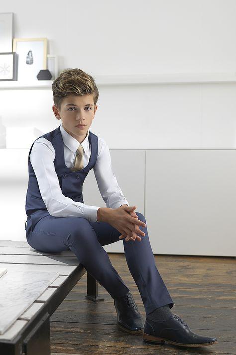 Boys ultra slim navy suit