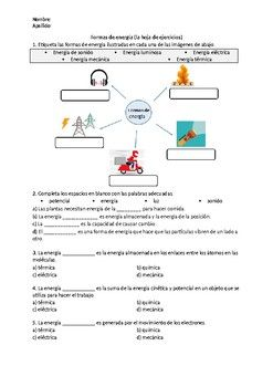 Formas De Energia La Hoja De Ejercicios Energy Science Teacherspayteachers