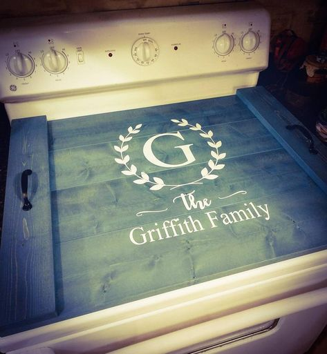 Oven Cover Asst Colors Farmhouse Decor Farmhouse Noodle Board Stove Cover Sink Cover Serving Tray Monogram Personalized Kitchen Storage