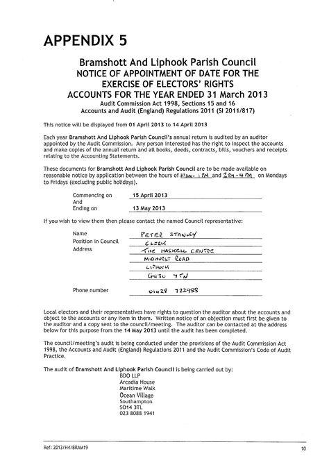 Bramshott  Liphook Parish Council  Notices  Audit Notice