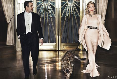 Vogue: Mark Ruffalo and his Avengers costar, Johansson in a Vionnet silk dress. Delfina Delettrez earrings and necklace. Gaspar gloves. Judith Leiber clutch. Ruffalo in a Brooks Brothers tuxedo jacket and bow tie. Paul Stuart vest. Tom Ford shirt and pants.
