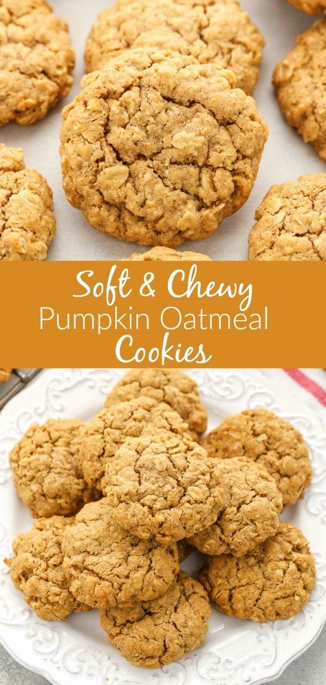 Mmm, Soft and Chewy Pumpkin Oatmeal Cookies that are just in time for the fall season. These pumpkin oatmeal cookies are super soft, thick, chewy, and full of pumpkin flavor! They will the perfect cookie for fall! Cake Mix Cookie Recipes, Best Cookie Recipes, Yummy Cookies, Oatmeal Cookie Recipes, Halloween Cookie Recipes, Oatmeal Cookie Bars, Oatmeal Chocolate Chip Cookie Recipe, Super Cookies, Halloween Snacks