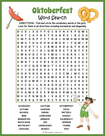 Oktoberfest Party Game Word Search Puzzle Oktoberfest Party