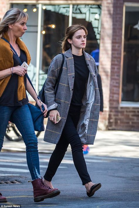 Emma Watson nails off-duty chic in structured checkered coat in NYC : Always camera ready: Keeping her hair and make-up simple, the star looked as flawless as e.