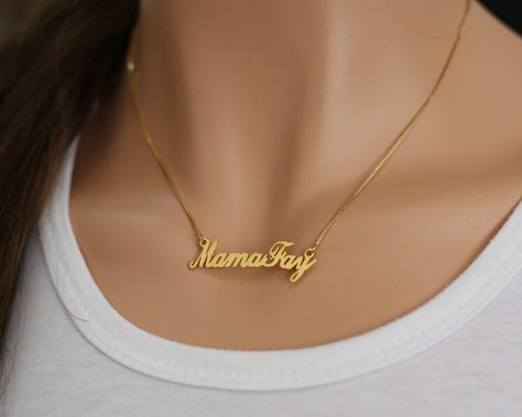 Gold Custom Name Necklace, Cut Out Nameplate Necklace, Personalized Initial,Font Chosen Name Necklac
