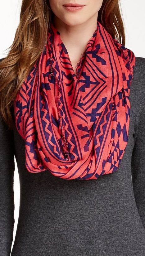 Blue Pacific | Tissue Weight Cashmere Blend Tribal Infinity Scarf