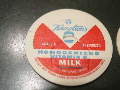 Vintage Knowlton/'s Milk Cap San Antonio Texas Milk Pog Stopper Unused
