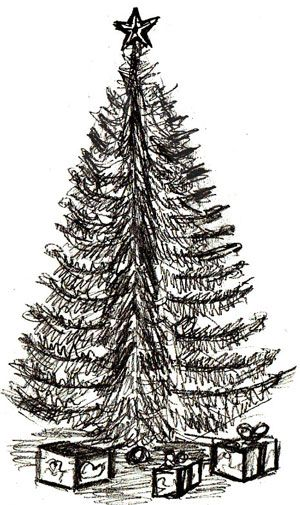 Realistic Christmas Tree Drawing : realistic, christmas, drawing, Christmas, Drawing,, Drawings, Pencil,, Drawing